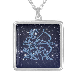 Sagittarius Constellation & Zodiac Sign with Stars Silver Plated Necklace
