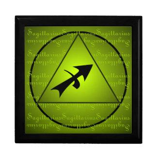 Sagittarius Curly Script Triangle Circle Green Gift Box