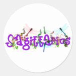 Sagittarius Flowers Classic Round Sticker