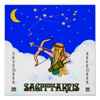 SAGITTARIUS GIRL IN THE CLOUDS POSTER