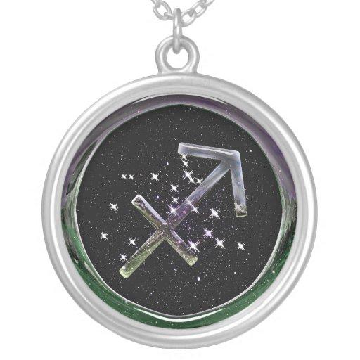 Sagittarius Glass Round Pendant Necklace