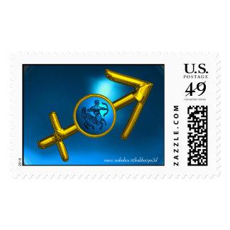SAGITTARIUS,Gold and  Blue Turquase Postage