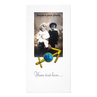 SAGITTARIUS,GOLD BLUE ZODIAC BIRTHDAY SIGN White Card