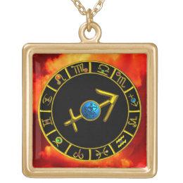 SAGITTARIUS Gold Blue Zodiac Jewel Astrology Chart Gold Plated Necklace