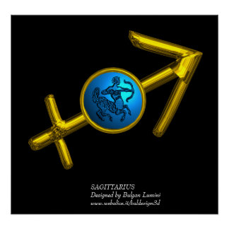 SAGITTARIUS / GOLD ZODIAC BIRTHDAY SIGN IN BLACK