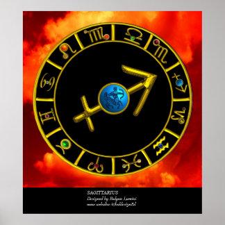 SAGITTARIUS / GOLD ZODIAC SIGNS CIRCLE, Astrology