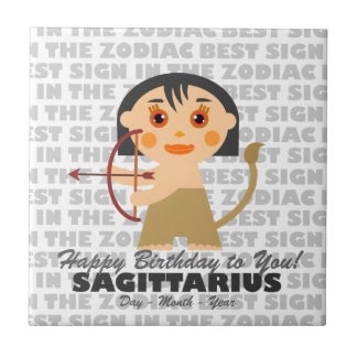 Sagittarius Happy Birthday Tile