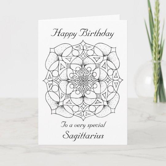 Sagittarius Mandala Color Your Own Birthday Card Zazzle