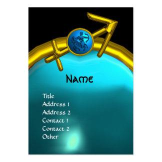 SAGITTARIUS MONOGRAM  blue black yellow Large Business Card