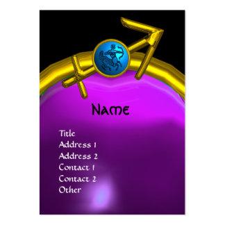 SAGITTARIUS MONOGRAM  purple amethyst blue black Large Business Card