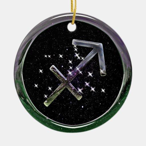 Sagittarius Double-Sided Ceramic Round Christmas Ornament