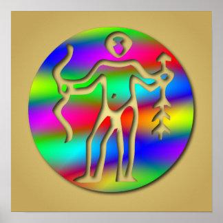 Sagittarius Rainbow Archer Zodiac Star Sign Print
