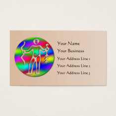 Sagittarius Rainbow Archer Zodiac Star Sign Salmon Business Card at Zazzle