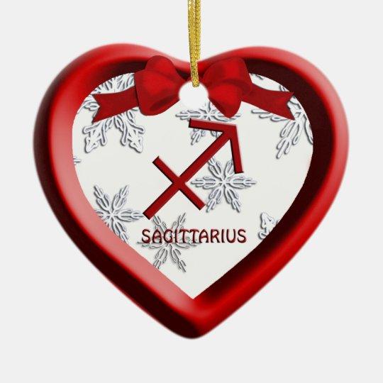 Sagittarius Red Heart Snowflake Christmas Ornament
