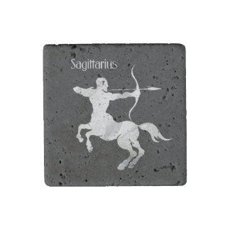 Sagittarius Silver Archer Zodiac Stone Magnet