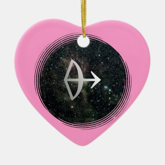 Sagittarius Star Sign Universe Birthday Pink Heart Ceramic Ornament