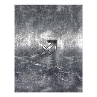Sagittarius Symbol Grunge Distressed Steel Style Letterhead