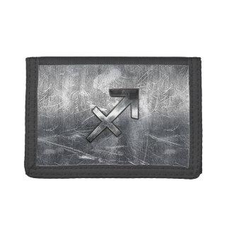 Sagittarius Symbol Grunge Distressed Steel Style Tri-fold Wallet