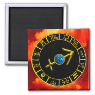 SAGITTARIUS WITH ZODIACAL SIGNS 2 INCH SQUARE MAGNET
