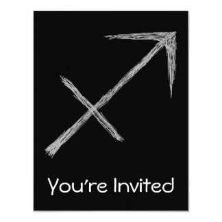 Sagittarius. Zodiac Astrology Sign. Black. Card