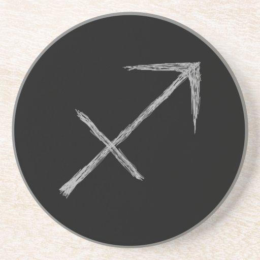 Sagittarius. Zodiac Astrology Sign. Black. Coasters