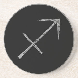 Sagittarius. Zodiac Astrology Sign. Black. Drink Coaster