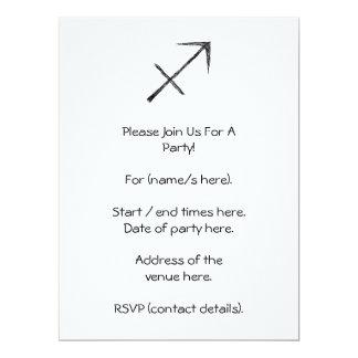 Sagittarius. Zodiac Astrology Sign. Black. 6.5x8.75 Paper Invitation Card
