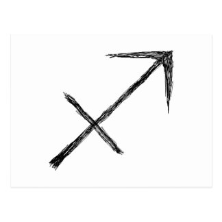 Sagittarius. Zodiac Astrology Sign. Black. Postcard