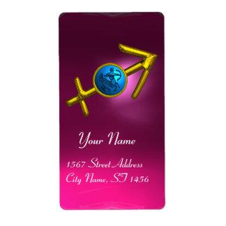 SAGITTARIUS ZODIAC BIRTHDAY Blue Turquase ,Pink Shipping Labels