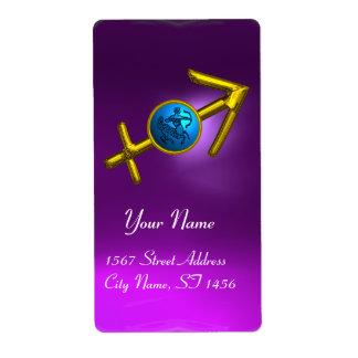 SAGITTARIUS ZODIAC BIRTHDAY Blue Turquase ,Purple Custom Shipping Labels