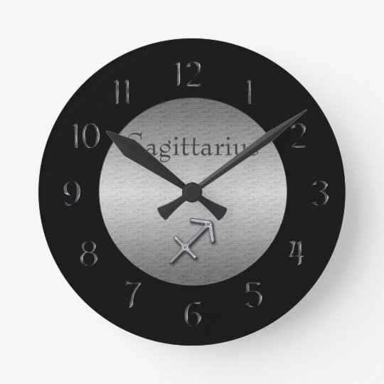 Sagittarius Zodiac-Faux Brushed Silver/Black Round Clock