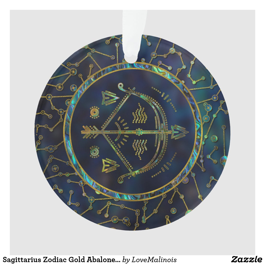 Sagittarius Zodiac Gold Abalone on Constellation Ornament