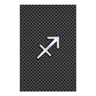 Sagittarius Zodiac Sign Black Carbon Fiber Print Flyer