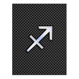 Sagittarius Zodiac Sign Black Carbon Fiber Print Postcard