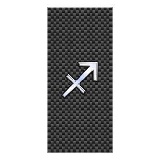 Sagittarius Zodiac Sign Black Carbon Fiber Print Rack Card