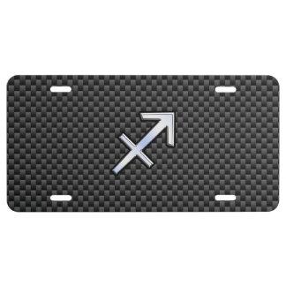 Sagittarius Zodiac Sign Black Carbon Fiber Style License Plate