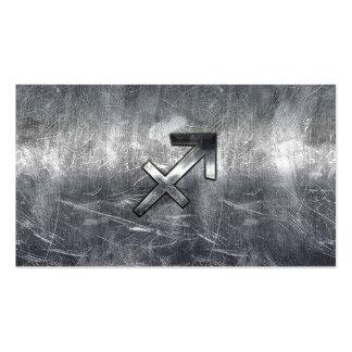 Sagittarius Zodiac Sign Distressed Steel Business Card