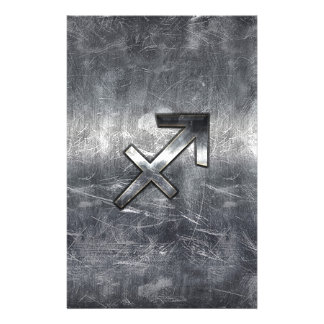 Sagittarius Zodiac Sign Distressed Steel Stationery