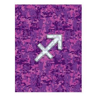 Sagittarius Zodiac Sign Fuchsia Digital Camouflage Postcard
