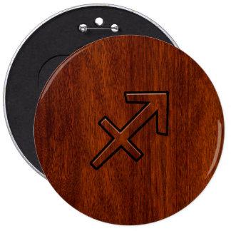 Sagittarius Zodiac Sign in Mahogany Style Button