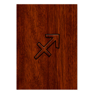 Sagittarius Zodiac Sign in Mahogany Style Large Business Card