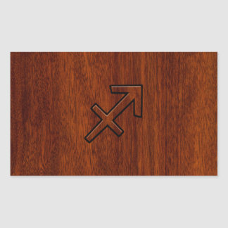 Sagittarius Zodiac Sign in Mahogany Style Rectangular Sticker
