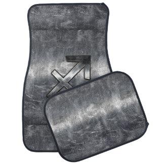 Sagittarius Zodiac Sign in Silver Steel look Car Floor Mat