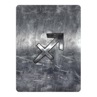 Sagittarius Zodiac Sign in Silver Steel look Card