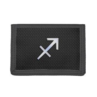 Sagittarius Zodiac Sign on Black Snake Skin Decor Tri-fold Wallets