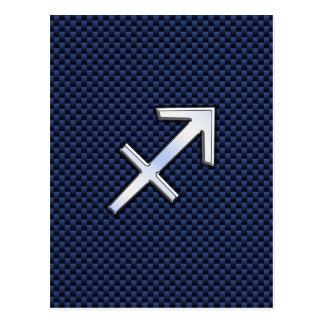 Sagittarius Zodiac Sign on Blue Carbon Fiber Decor Postcard