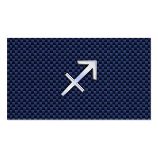 Sagittarius Zodiac Sign on Blue Carbon Fiber Print Business Card