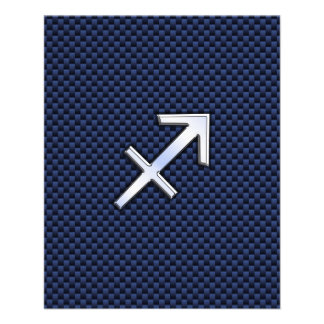 Sagittarius Zodiac Sign on Blue Carbon Fiber Print Flyer