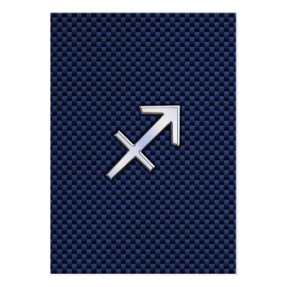 Sagittarius Zodiac Sign on Blue Carbon Fiber Print Large Business Card