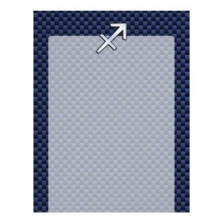 Sagittarius Zodiac Sign on Blue Carbon Fiber Style Letterhead